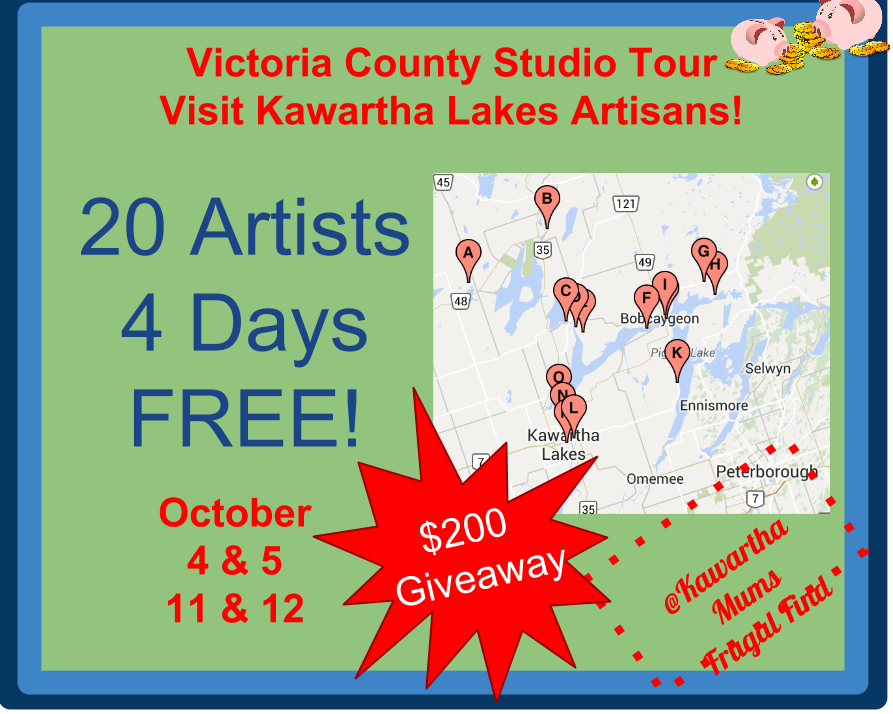 Kawartha Lakes Victoria county studio Tour 20 artists 4 Days Free October 4 & 5 11 & !2 $200 Giveaway