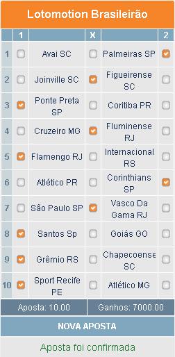LOTOMOTION BRASILEIRÃO - 31ª RODADA - APOSTA 02