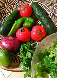 Tomatoes, Peppers, Cucumbers, Red Onion, and Lime in Basket