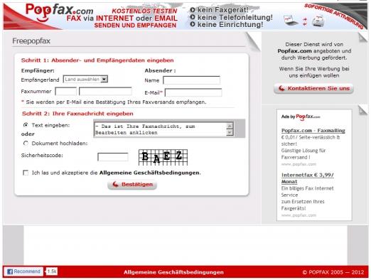 desde wwwfreepopfaxcom podremos enviar documentos con total seguridad lo nico que el documento destino llevara incorporada publicidad
