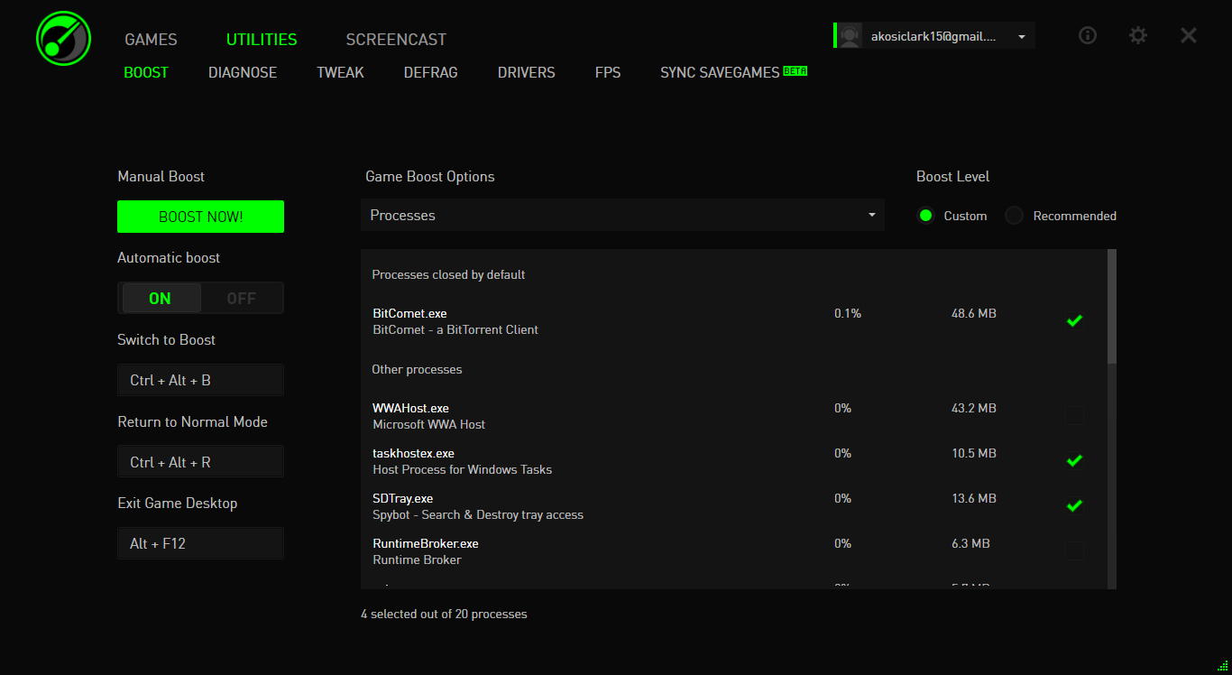 razer game booster utilities interface