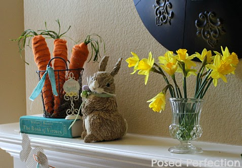Daffodils and Bunnies on Mantel