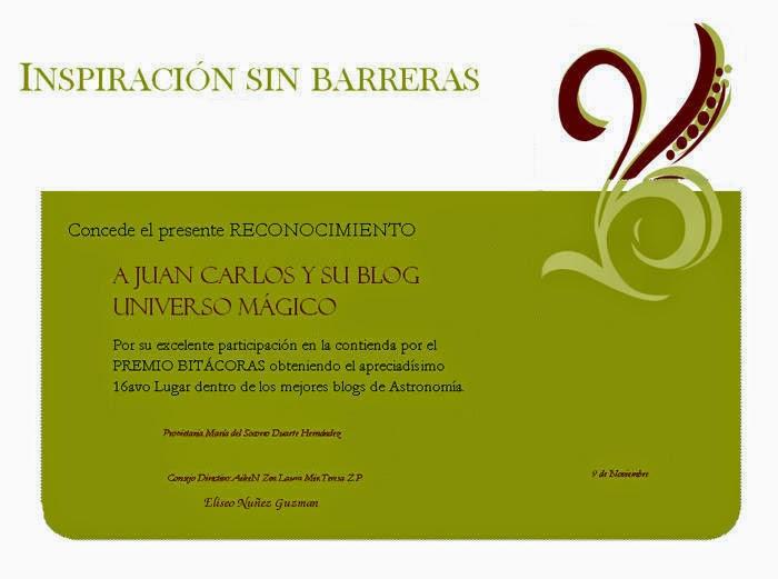 """Reconocimiento de la comunidad """"Inspiración sin barreras"""" al puesto 16 en el premio Bitácoras 2014"""