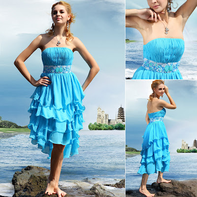 Sky Blue Strapless Knee Length Multi-layer Pleated Dress