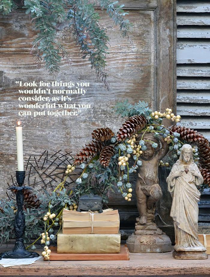 decoración navideña casera-arreglo-floral-elementos naturales bodegon