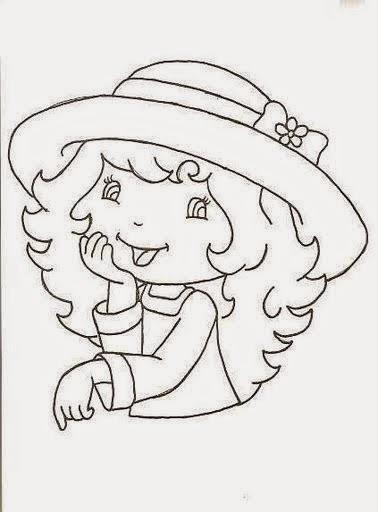 desenho da moranguinho para pintar em panos de copa e colocar saia de croche