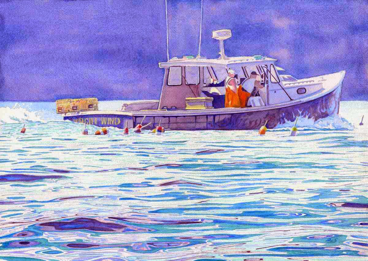 "Night Wind Lobster Boat - Watercolor 14"" x 20"""