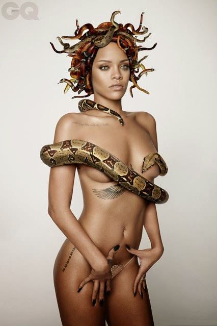 scary photos rihanna goes nude for brithish gq magazine 25th annivasary cover