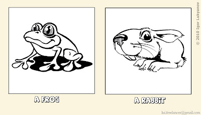 extremely cute cartoon frog and rabbit (drawing by Igor Lukyanov)