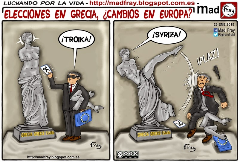 Viñeta de humor: Grecia le da una patada a la Europa de los recortes. Cartoon: Greece kicks him to the Europe of the cuts and the troika y al troika.