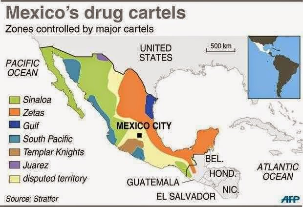 Mexico map of drug gangs
