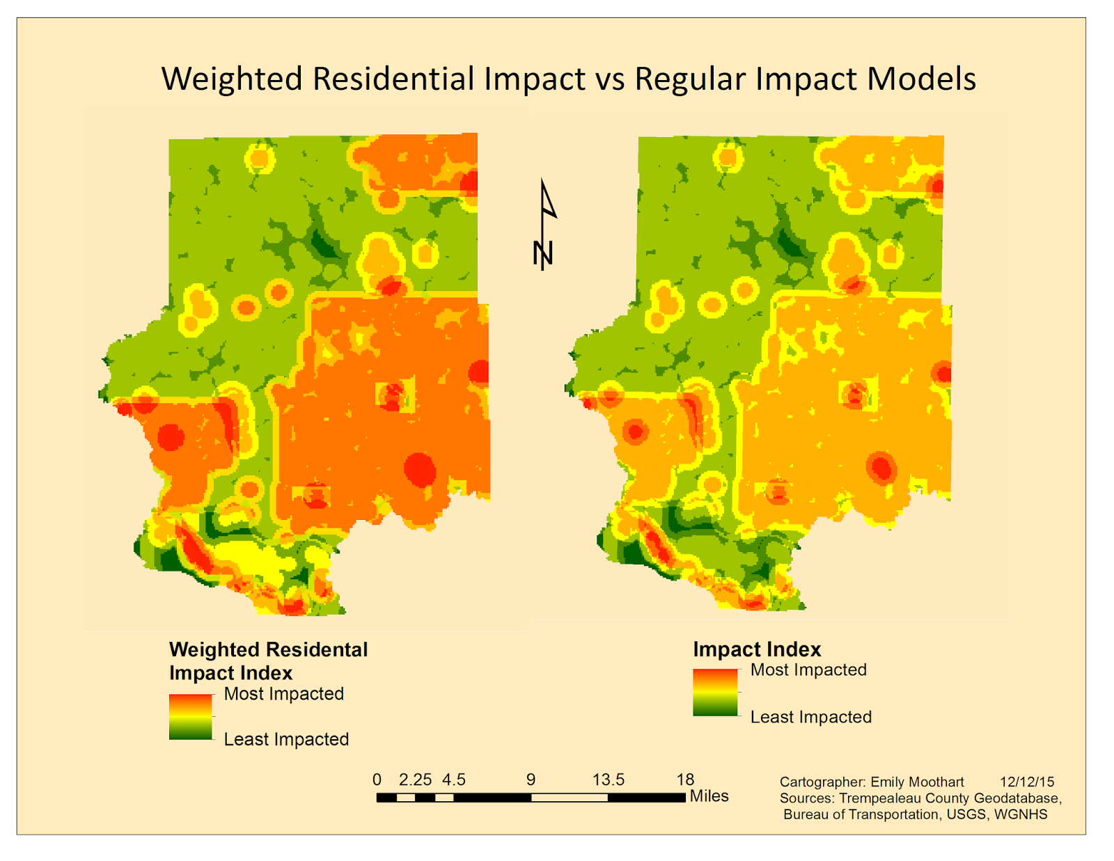 figure 8 comparative model of the weighted and normal impact models note that the residential areas the large squares are seen as being more impacted