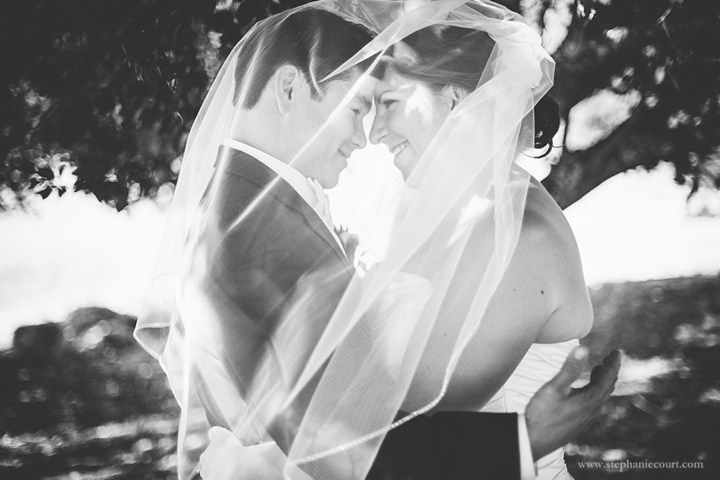 """""""romantic bride and groom photo with veil"""""""