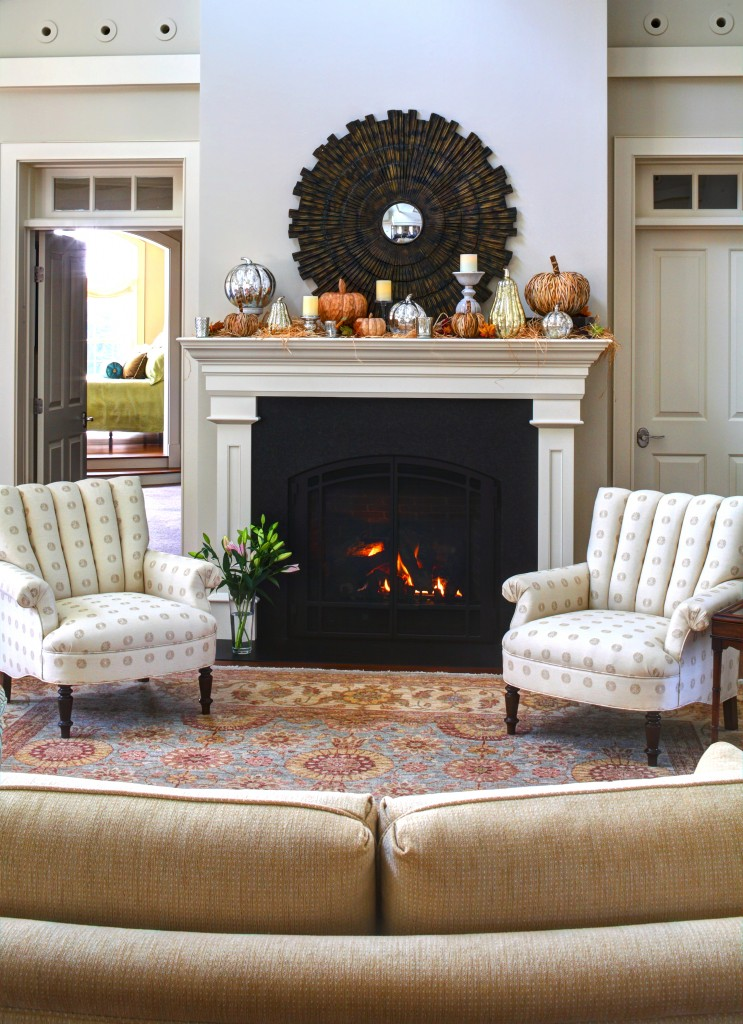 Autumn fireplace mantel inspirations french country for Living room with fireplace