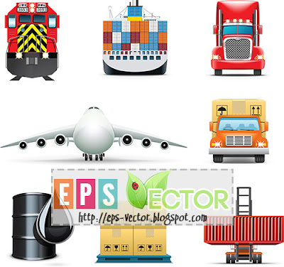 [Vector] - Transport Delivery icon set 2