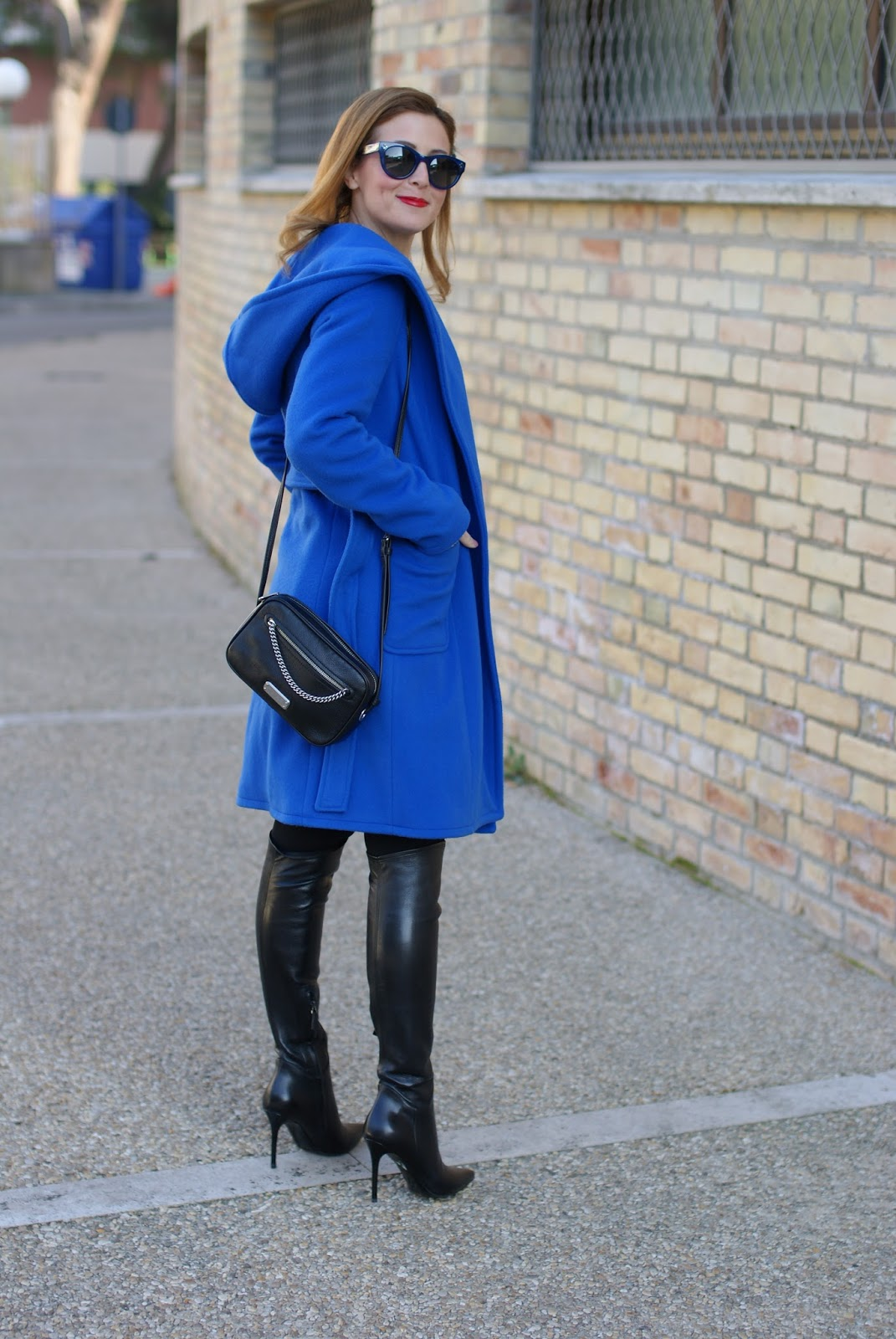 Wrap hooded coat and stiletto cuissardes over the knee boots on Fashion and Cookies fashion blog, fashion blogger style
