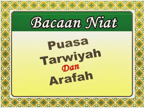 Niat Puasa Sunah Tarwiyah (8 Dzulhijah) Dan Arafah (9 ...