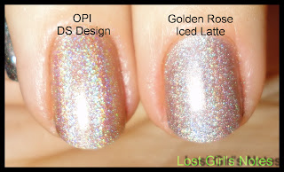 golden rose iced latte and OPI DS design comparison