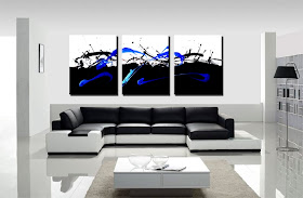 "Abstract Painting ""In Control - Black & Blue"" by Dora Woodrum"