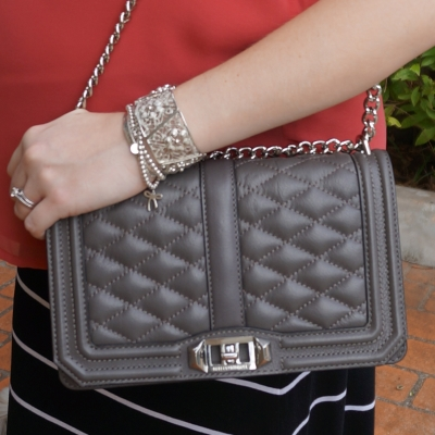 AwayFromTheBlue | Silver bracelet stack Rebecca Minkoff Love bag
