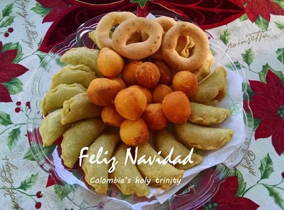 Platter of Colombian favorite Christmas foods