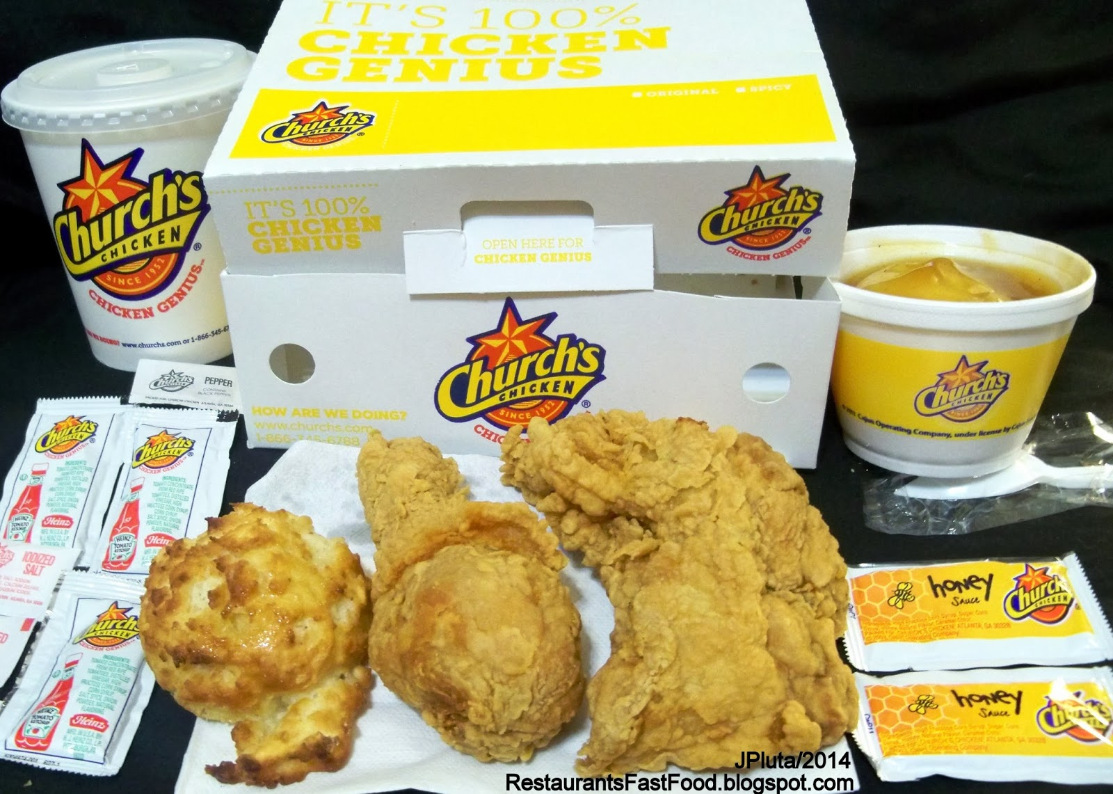 Church S En Dinner 2 Piece T Leg Mashed Potato Gravy With Ermilk Biscuit Honey Packets Fried Fast Food Restaurant