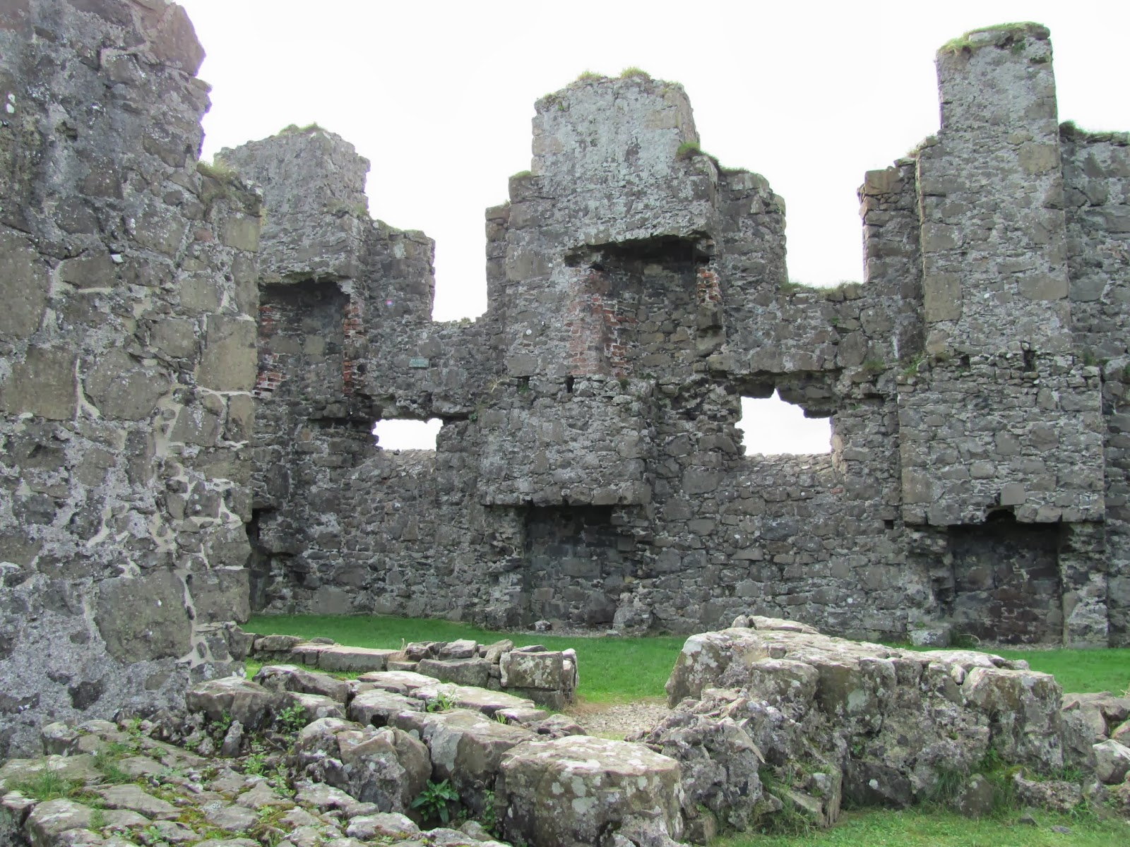 The ruined walls and floor of Dunluce Castle