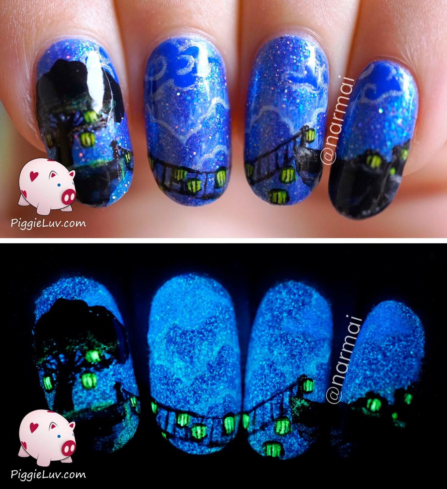 PiggieLuv: Glow in the dark bridge nail art (painted with polish)