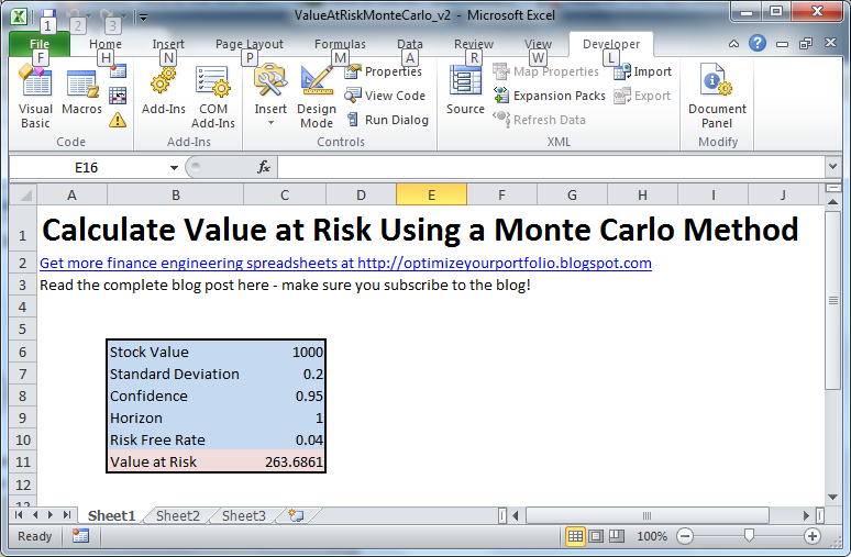 value at risk with monte carlo simulation