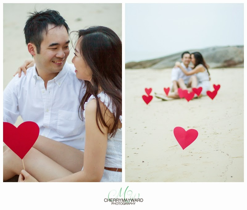 Stephanie & Brian engagement, couple on the beach with hearts, beautiful happy engagement photos, koh samui love story photos, Thailand engagement, hearts on the beach