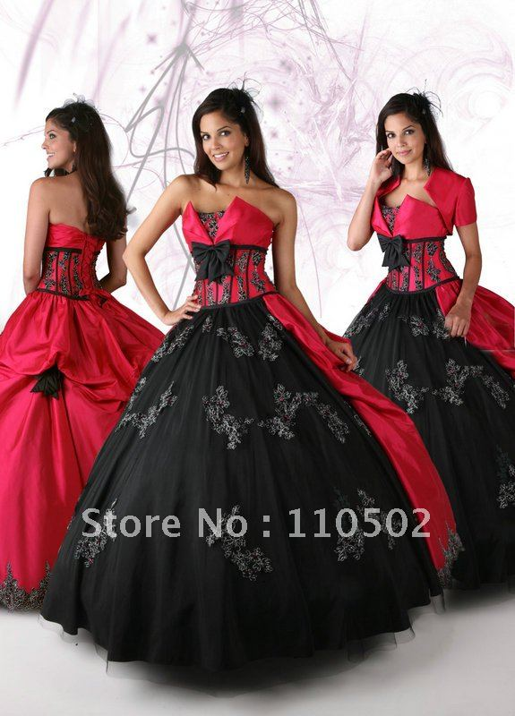 She fashion club red and black wedding dresses for Red and black wedding dresses