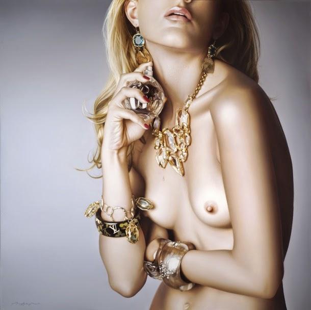 Anna Halldin Maule pinturas hiper-realistas mulheres fashion sensuais nuas nsfw