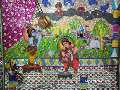A fascinating mosaic of a Krishna leela in a Glass Temple along the way to Haridwar