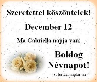 December 12 - Gabriella névnap