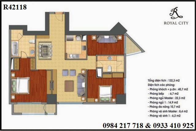Mua bán căn hộ chung cư Royal City, căn hộ R42118 Royal City giá tốt căn góc diện tích 132.3 m2