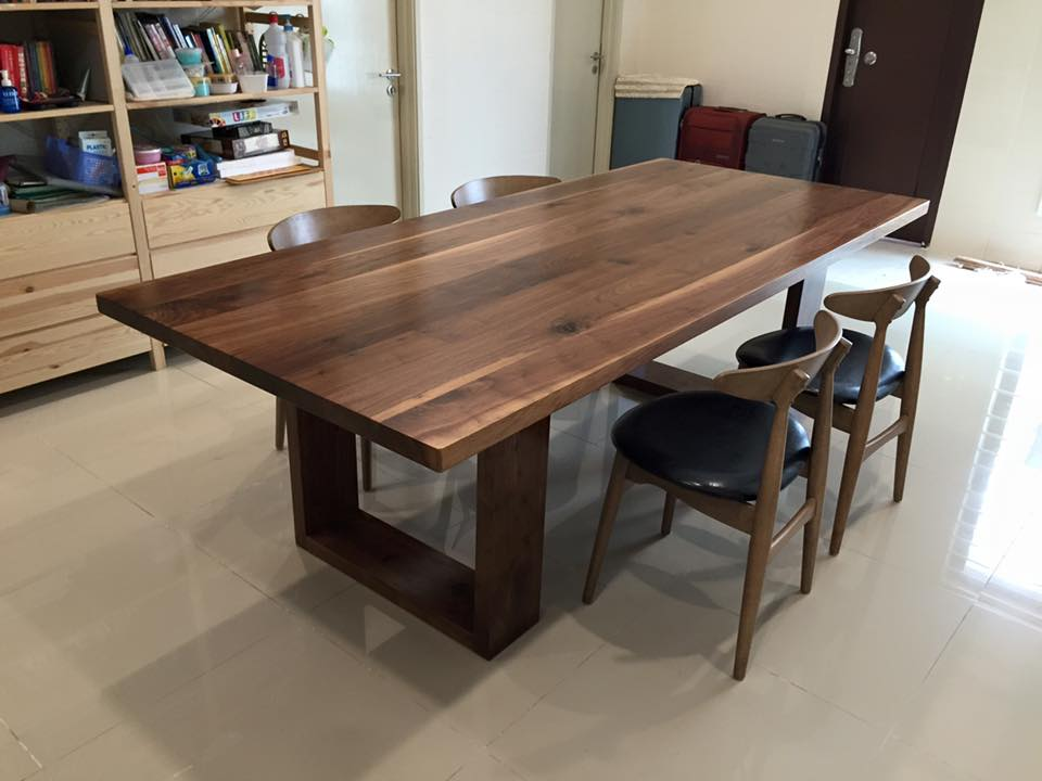 Fukusu 2 Inches Thick Solid American Walnut Timber Dining Table With Matching Timber Leg For