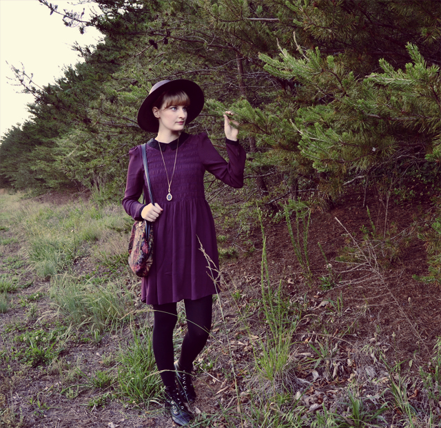 Boysenberry-colored smock dress, black tights