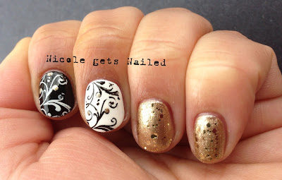 Black White Gold Stamping Nail Art