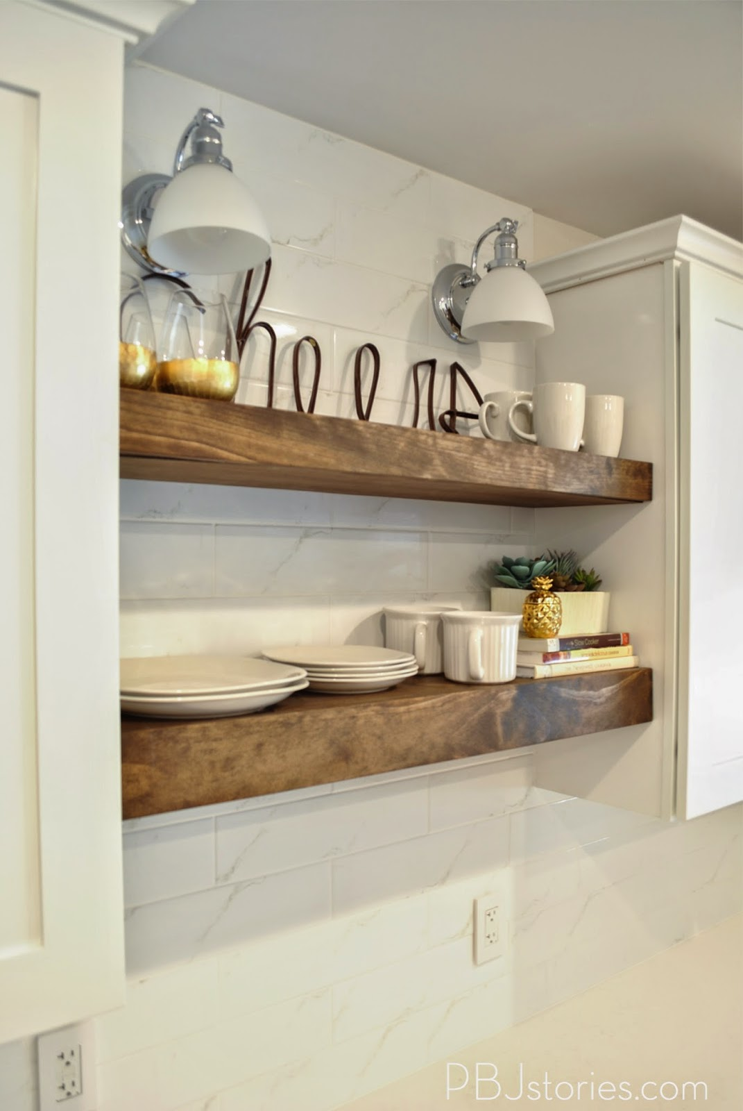 Pbjstories our diy open kitchen shelves pbjreno Floating shelf ideas for kitchen