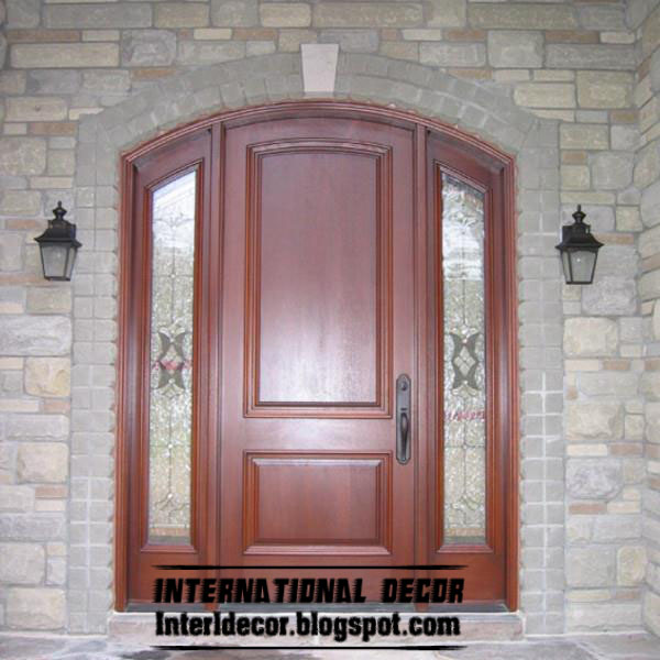 Classic Wood Door In Calm Design With Mirror Sides