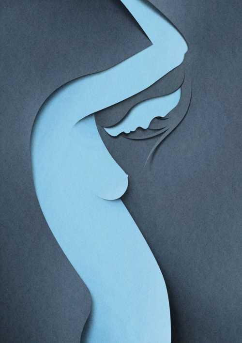 eiko ojala ilustração arte corte montagem papel mulher nua