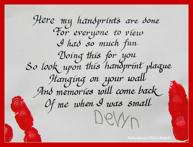 photo of: Poem for Hand Print Art via RainbowsWithinReach