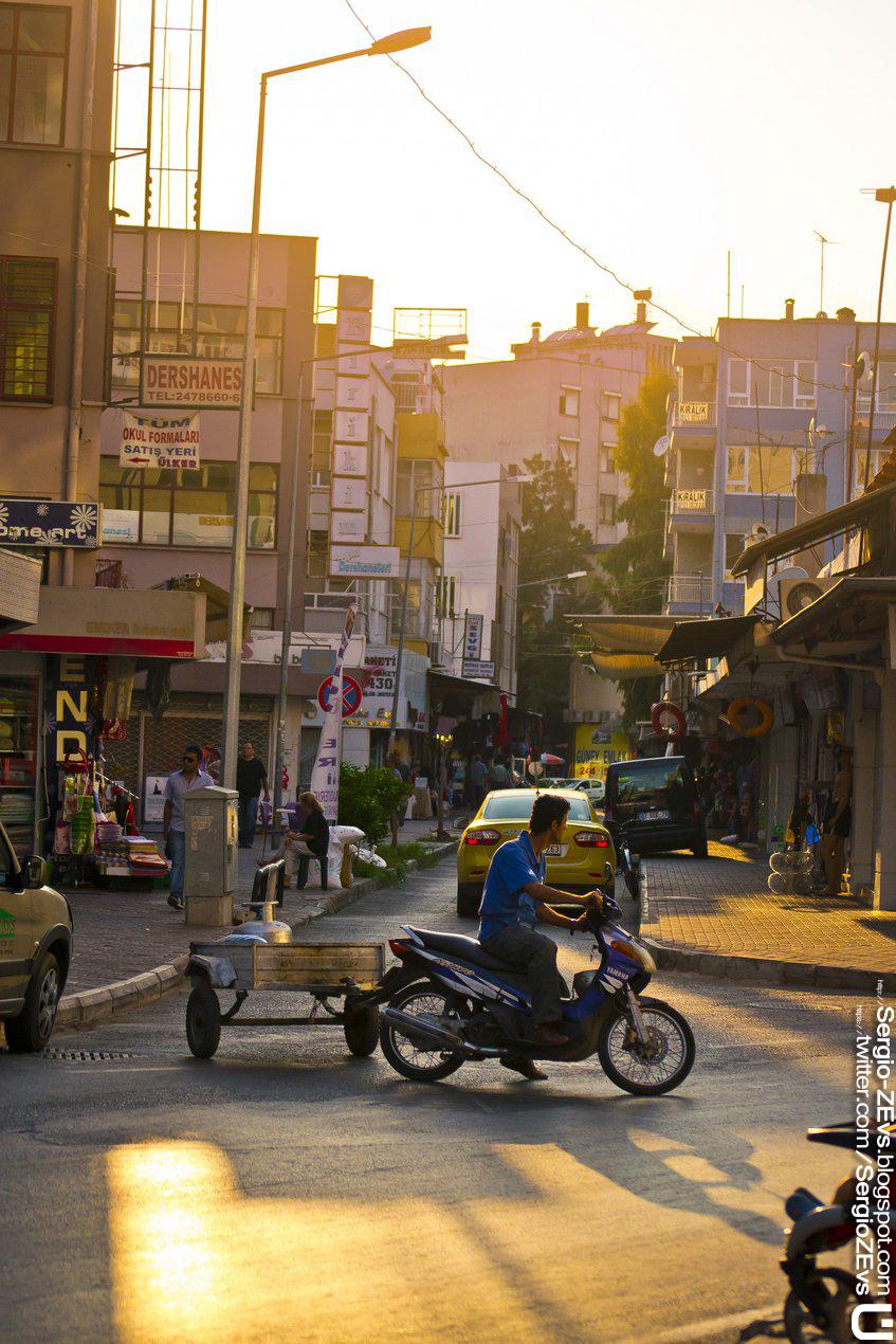 Caddesi, Antalya, scooter, gün batımı, Street, sunset