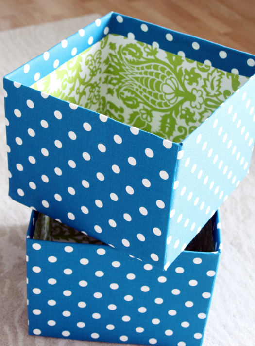 Diy fabric covered boxes cafemom for Fabric covered boxes craft