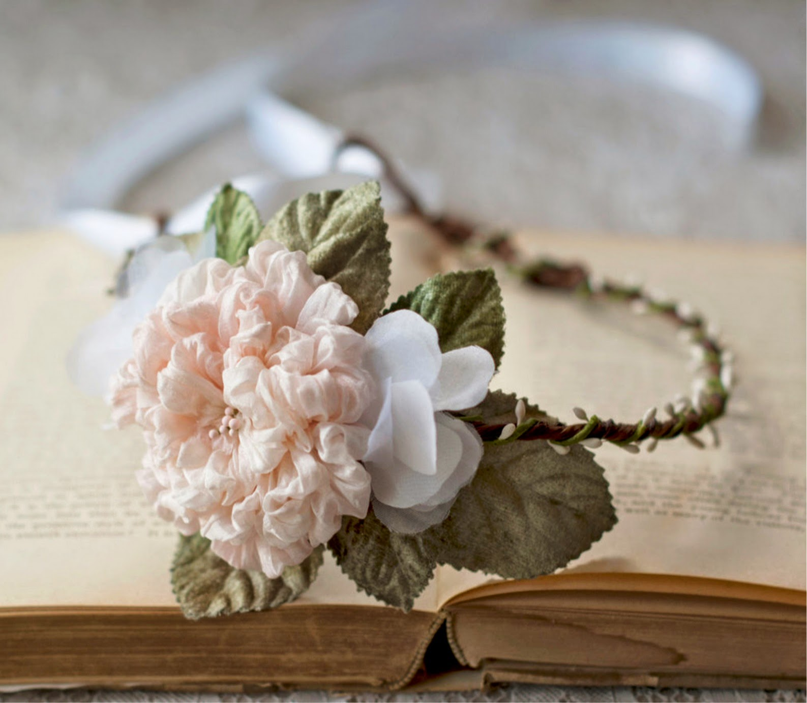 https://www.zibbet.com/foreverhookeddesign/silk-bridal-flower-crown-blush-peach-rose-hair-circlet-rustic-woodland-boho-wedding-head-wreath-floral-white-halo-hair-accessories