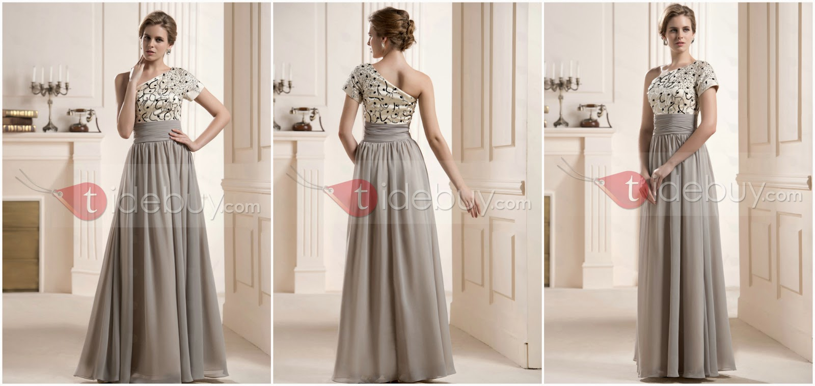 Faddish Sequins Beaded One-Shoulder Short Sleeve Floor-Length Mother of the Bride Dress from www.tidebuy.com