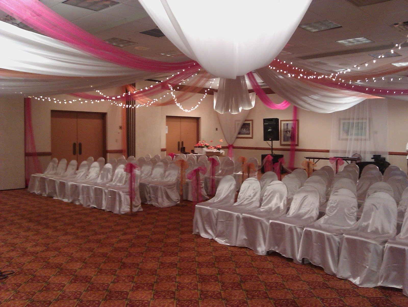 Creative wedding and party decor fabric ceiling before and after junglespirit