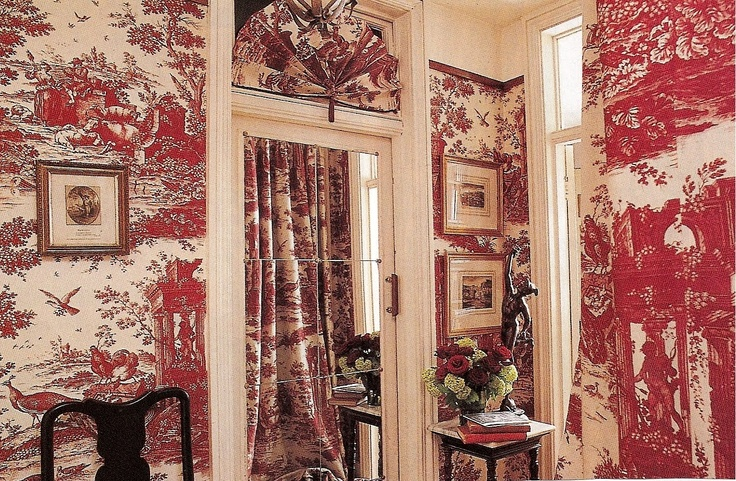 I Adore This Red Toile De Jouy With A Nautical Design.