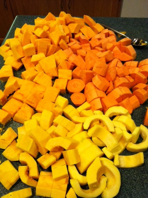 Pie Pumpkin, Delicata Winter Squash, and Sweet Potatoes cubed ready ...