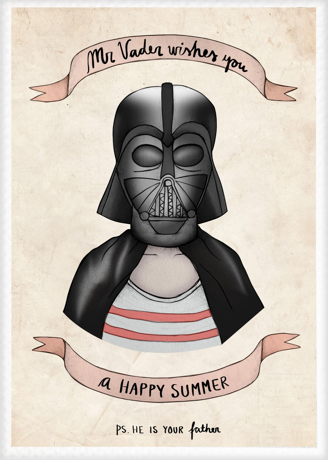 Lines i drew happy summer greetings from the dark side drawing him was so much fun and today whilst i was waiting for feedback from a client my darth vader sketch transformed into a greeting card m4hsunfo